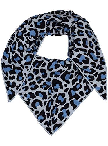 Zwillingsherz Dreieckstuch aus Baumwolle - Hochwertiger Schal mit Leo Design für Damen Jungen Mädchen - Uni - XXL Hals-Tuch und Damenschal - Strick-Waren - für Herbst Frühjahr Sommer blau