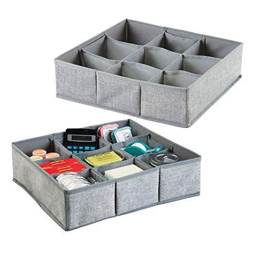 mDesign - Lade-organizer - voor bureaulade - voor kantoorbenodigdheden, plakband, memoblaadjes, punaises, notitieblokken - 9 compartimenten - groot - grijs - per 2 stuks verpakt