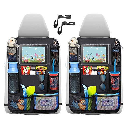 2 - Pack Organizadores para Coche, Kick Mats de Coche, Universal Multi-Bolsillos Organizanizador, Impermeable Protector Asiento Trasero Coche con Soporte de iPad 12in