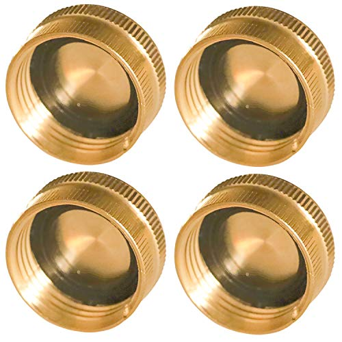 Hourleey Brass Garden Hose End Caps, 4 Pack 3/4' Garden Hose End Caps with Washers