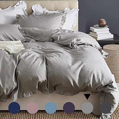 AShanlan Bettwäsche 135x200 Grau Rüschen Uni Einfarbig Romantisch & Weich 2-teilig Mikrofaser Bettbezug & Kissenbezug 80x80cm