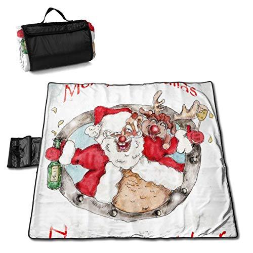 ClownFish Grande Estera de Picnic 57 * 59 In with Respaldo Impermeable para Camping de Picnic al Aire Libre,Santa and Deer Christmas Vintage