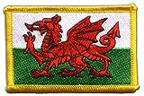 Flaggen Aufnäher Wales Fahne Patch + gratis Aufkleber,