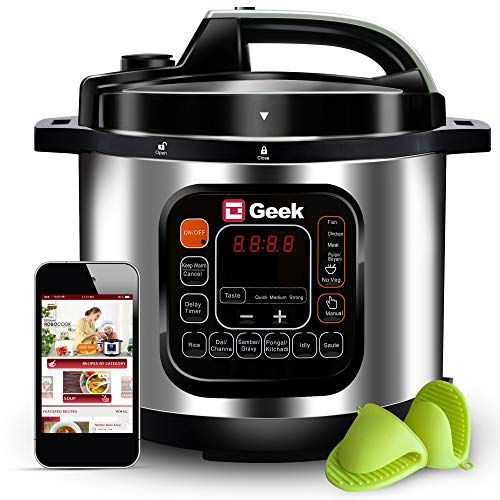 Geek Robocook Automatic 5 Litre Electric Pressure Cooker with 11 in 1 Function, Feather Touch Preset Menu, Non Stick Pot, Black
