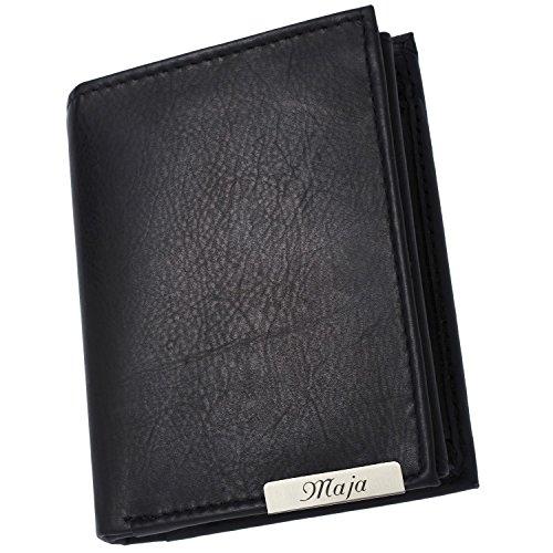 Cadenis Damen Geldbörse Geldbeutel Leder mit persönlicher Laser-Gravur schwarz klein Hochformat 10,5 x 8,5 cm