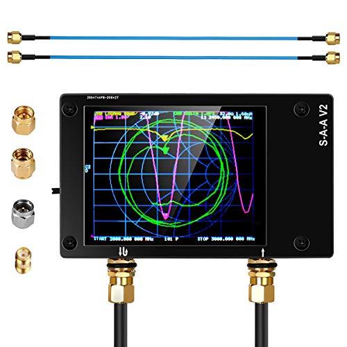 NanoVna V2 VNA Vector Network Analyzer 10KHz -3GHz HF VHF UHF Antenna Analyzer Measuring S Parameters, Voltage Standing Wave Ratio, Phase, Delay, Smith Chart with 1950mAh (S-A-A-2)
