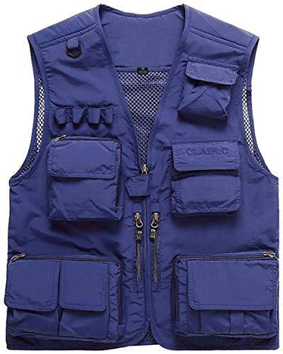 PXX Herren Outdoor Multi Taschen Mesh Polyester schnell trocknend Gilets Weste Tops leichte Fotografie Jagd Westen Jacke,Blau,M