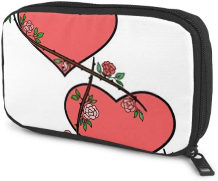 Electronics Accessories Organizer Bag Two Hearts Curly Roses Around Valentines Electronics Organizer Electronic Cord Organizer Travel Storage Bag of Cases for Cable, Charger, Phone, USB, Sd Card