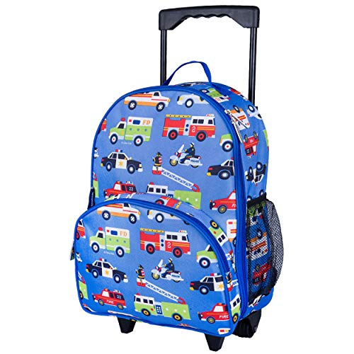 Wildkin Kids Rolling Luggage for Boys and Girls, Carry on Luggage Size is Perfect for School and Overnight Travel, Measures 16 x 12 x 6 Inches, BPA-free, Olive Kids (Heroes)