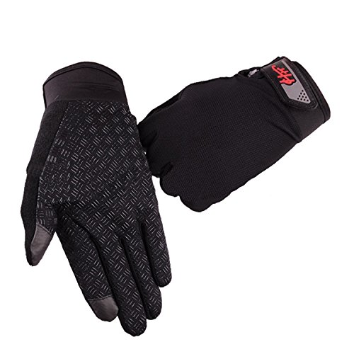 Women Men Full Finger Touch Screen Cycling Gloves Mesh Quick Dry Non-slip Motorcycle Road Mountain Bike Riding Gloves UV Protection Fitness Climbing Fishing Workout Exercise Golf Gloves (Black)