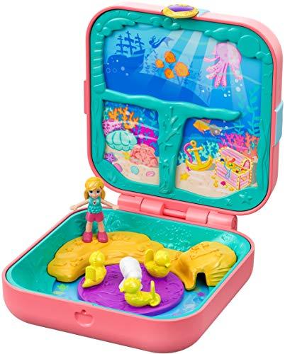 Polly Pocket Coffret Secret La Grotte de la Sirène, mini-figurine, accessoires, autocollants et 3 surprises cachées, jouet enfant, GDK77