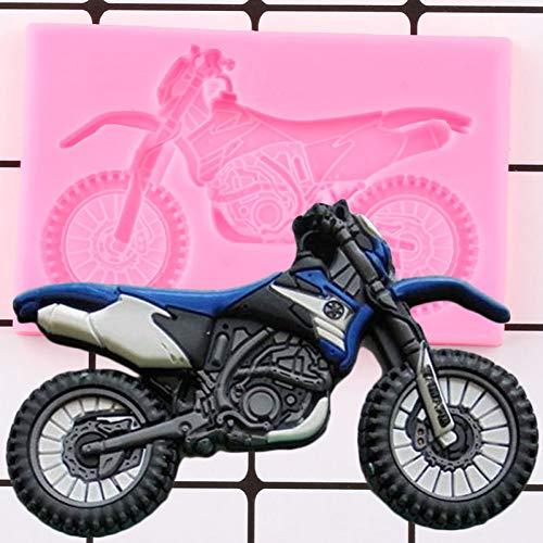 FGHHT 3D Motorrad Silikonform DIY Baby Geburtstag Fondant Kuchen Dekorationswerkzeuge Kuchen Backen Candy Clay Schokolade Gumpaste Formen