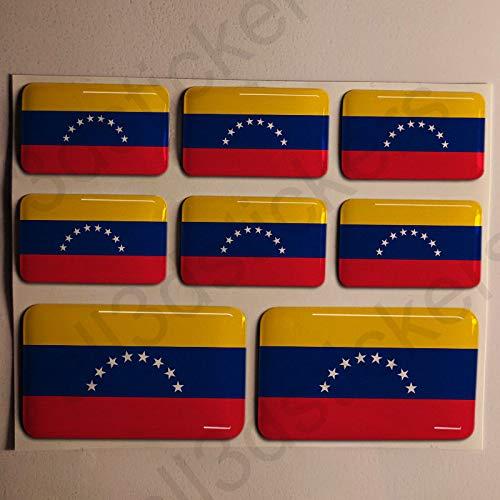 All3dstickers Pegatinas Venezuela Resina, 8 x Pegatinas Relieve 3D Bandera Venezuela Adhesivo Vinilo