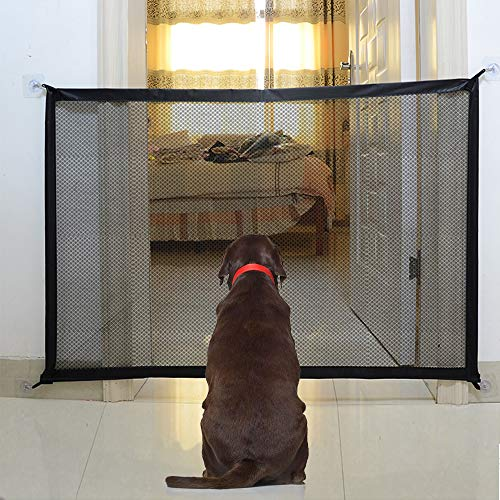 U-picks Hundebarrieren, Magic Gate Faltbar Hunde Türschutzgitter Tür- & Treppengitter für Babys, Hunde & Katzen, 110cm x 72cm