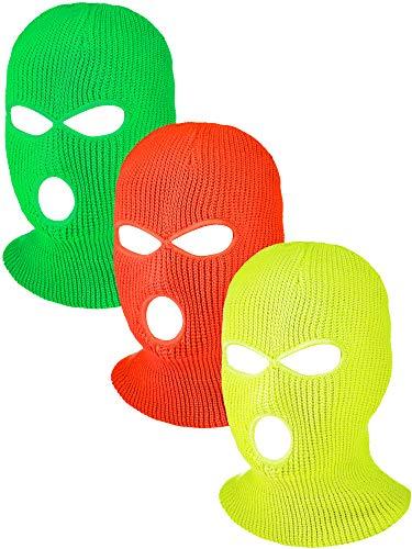 Hicarer 3 Pasamontañas Envoltura de Cabeza Cubiertas Faciales de 3 Agujeros de Esquí de Punta de Deporte de Invierno al Aire Libre (Naranja, Verde, Amarillo)
