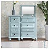 XCJ Tocador Tocador Escritorio de Maquillaje con Taburete Mesa de cosmética Blanca con Espejo para el Dormitorio 37.4x15.7x33inch Juego de Tocador (Color : Blue, Size : 95x40x84cm)
