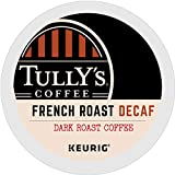 Tully's Coffee, French Roast Decaf, Single-Serve Keurig K-Cup Pods, Dark Roast Coffee, 96 Count (4 Boxes of 24 Pods)