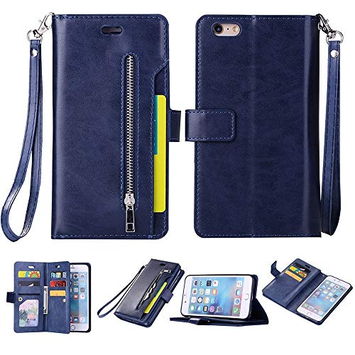 Cas de couverture, Caso de cuero del tirón for el iPhone 6 Plus y Plus 6s multifuncional cremallera horizontal con soporte y monedero y 9 ranuras for tarjetas y la cuerda de seguridad ( Color : Blue )