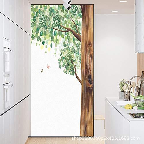 TFOOD raamfolie, raamfolie esthetiek eenvoudige boomblad vlinder dier privacy statische cling gematteerde stickers Opak glas decor zelfklevende UV-bescherming voor keuken badkamer woonkamer