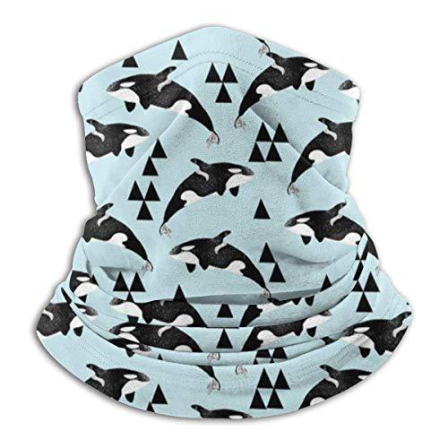 Tour de Cou Cagoule Microfibre Chapeaux Tube Masque Visage, Orca Whale Ocean Pastel Blue Fleece Neck Warmer - Reversible Neck Gaiter Tube, Versatility Ear Warmer Headband & For Men And Women