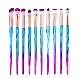 Kit di 10 pennelli da trucco per occhi, per ombretto, eyeliner, labbra, fondotinta in polvere