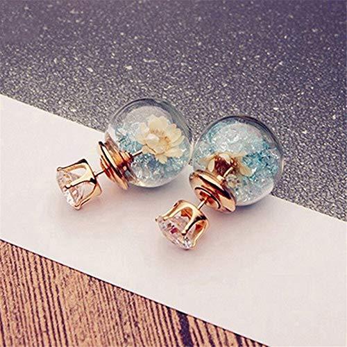 TTYJWDWY-Pendientes de Moda y Bonitos, Elegantes y exquisitas Flores de Cristal de circón para niñas, Pendientes de Bola de Cristal de Doble Cara-Azul Claro