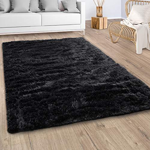 Paco Home Hochflor Teppich Wohnzimmer Fellteppich Kunstfell Shaggy Flauschig Schwarz, Grösse:160x220 cm