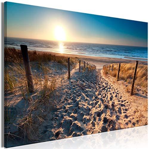 decomonkey | Mega XXXL Bilder Meer Strand | Wandbild Leinwand 170x85 cm Selbstmontage DIY Einteiliger XXL Kunstdruck zum aufhängen | Landschaft Natur Sonnenuntergang Sand