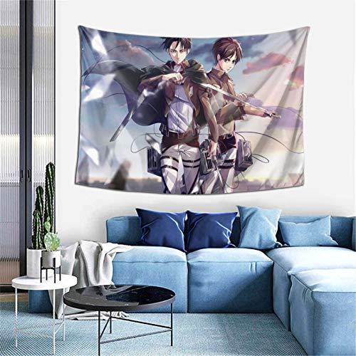 At-tac-k on T-i-tan L-evi e-ren Tapisserie Anime Wandbehang Kunst Hintergründe für Schlafzimmer Wohnzimmer Sofa Party Geschenk Poster Wohnheim Ästhetische Dekoration 152,4 x 101,6 cm
