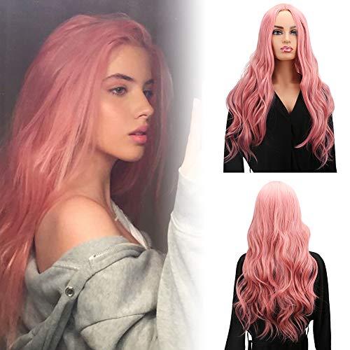 WOWTOY Perruque Cosplay Pour femmes synthétique ondulée naturelle longue perruque rose avec la perruque Cap...