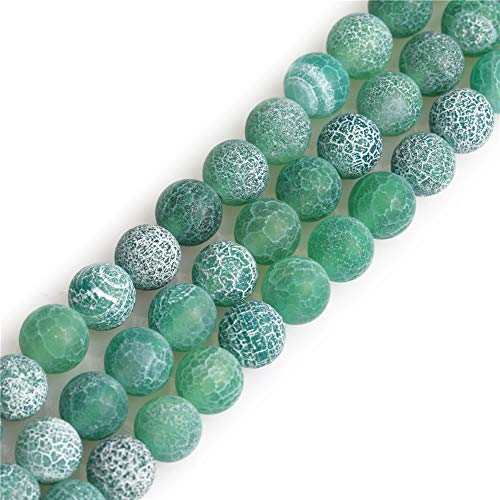SHGbeads Green Agate Gemstone Loose Beads Natural Round Frosted 8mm Crystal Energy Stone Healing Power for Jewellery Making 15''