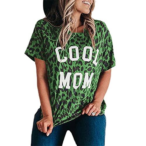 Camiseta Mujer Tops Mujer Sexy Estampado De Leopardo Cuello Redondo Manga Corta Elegante Moda Suelta Cómodo Transpirable Nuevas Mujeres Camisa C-Green S