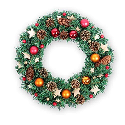 JGPIG Weihnachtskranz, Sterne grüne Girlande, Tür Weihnachtskranz, Wohnzimmer Dekoration Wandbehang Girlande, Thanksgiving Geschenk Blume Rebe,40cm