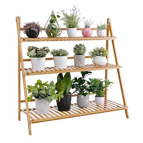 Decopatent Pflanzentreppe aus Bambusholz - Pflanzenständer für Innen - Pflanzengestell für Pflanzen und Blumen - Auch als Blumenständer/Pflanzenregal