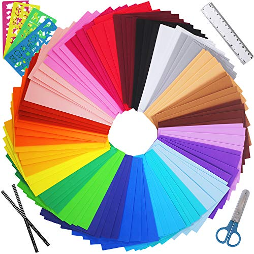 Winlyn 96 Sheets Bright Foam Sheets 24 Assorted Rainbow Colors Craft Foam Sheets EVA 9x6' 2mm Thick with Scissor Stencils Ruler Pencils for Kids Classroom Party Collages Scrapbooks Artwork Projects