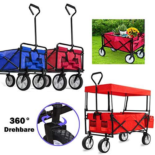 Huini Bollerwagen Faltbar Handwagen Klappbar Transportwagen Gartenkarre Faltwagen mit 30° Reifen Gartenanhänger Einkaufen Handwagen Tragkraft: 80KG, mit Dach, Rot