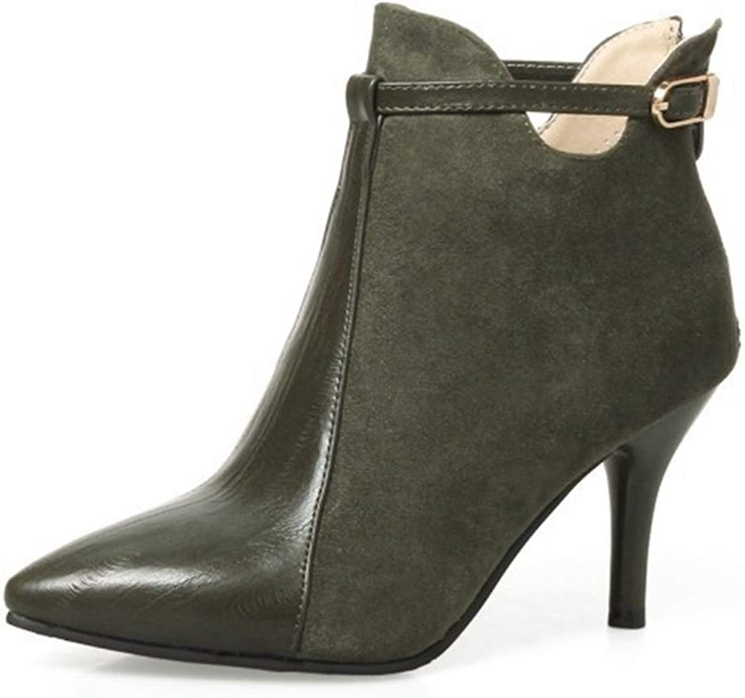 Beautiful - Fashion Women's Pointed Toe Ankle Boots Side Zipper Retro Stiletto Heel Booties Slip On Short Dress Booties