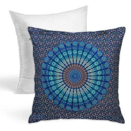 Cojín de sujeción para sofá, dormitorio, coche, hogar, estilo indio, hippie, bohemio, psicodélico, diseño de mandala de pavo real azul y verde