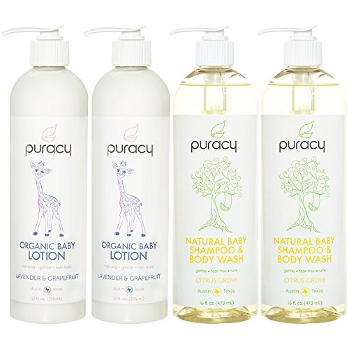 Puracy Organic Baby Care Gift Set (4-Pack), Nontoxic Moisturizing Lotion & Natural Baby Shampoo