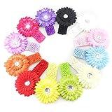 12pcs diversos colores dulce infantil de la flor de la margarita de los bebés Clip Clips elástico vendas del ganchillo de la venda del pelo de Headwear apoyos de la foto