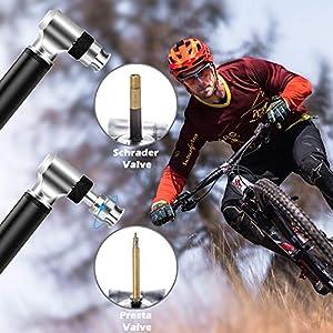 Diyife Bomba Para Bicicleta, [300 PSI][Juego Completo] Mini Bomba De Bicicleta Bomba de Mano con Aguja, Perfecto para el Anillo de Natación Inflable en Globo para Presta y Schrader