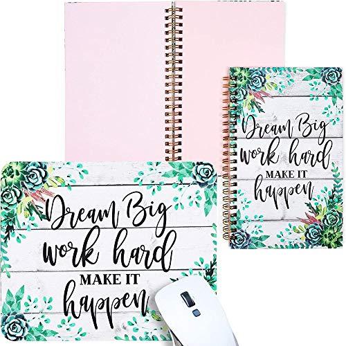 Juego de cuadernos y alfombrilla para ratón, diseño espiral, Dream Big, Work Hard, Make It Happen (3 piezas)