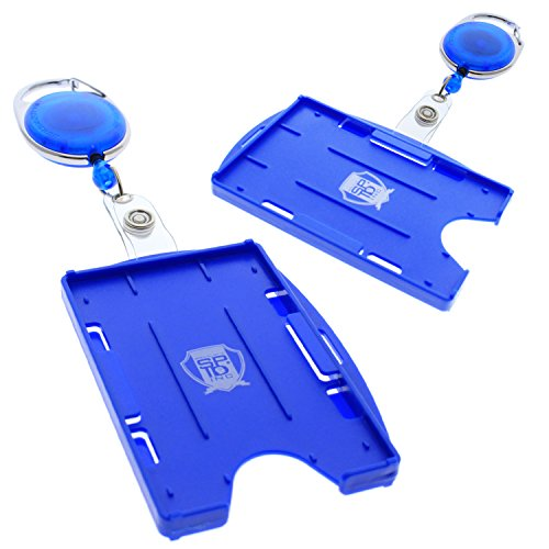 2 Pack - Premium Two Card Plastic Badge Holder - Vertical or Horizontal - with Heavy Duty Retractable Carabiner Clip Badge Reel by Specialist ID (Royal Blue)