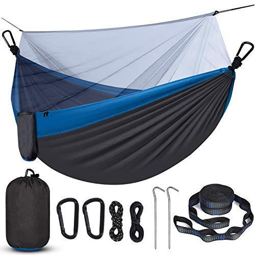 Camping Hammock with Net, Travel Portable Lightweight Hammock with Tree Straps and D-Shape Carabiners, Parachute Nylon Hammock for Outsides Backpacking Beach Backyard Patio Hiking,(Dark Gray & Blue)