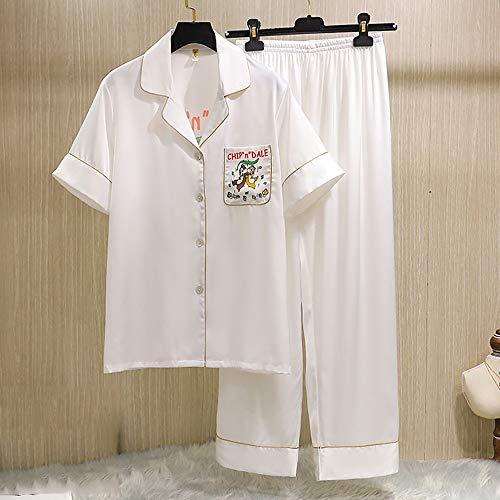 HXiaDyG Damen Schlafanzug Simulation Silk Pyjamas Sommer Kurzarm-Hosen-Karikatur-Eichhörnchen-Damen Home Service (Color : White, Size : XL)