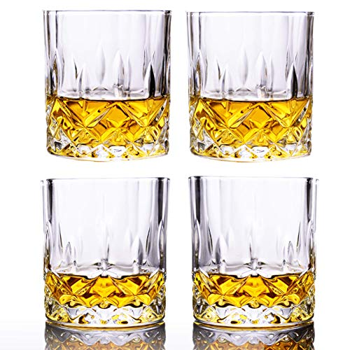 Premium Whiskey Glasses, GLASKEY Set of 4 Scotch Glass Tumblers for Drinking Bourbon, Cognac, Irish Whisky, Large 10oz Lead-Free Crystal Old Fashioned Glass
