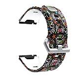 Correa para Fitbit Ionic - Correa de Silicona Estampada Colorida Tema Pulsera - Ajustable Reemplazo Banda de Reloj Accesorios para Hombre Mujer Baohooya (M)
