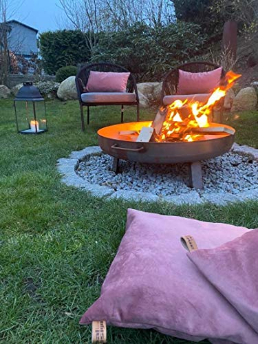 runde Feuerschale Feuerkorb massiv aus Stahl - Gr.2 ca.: Ø 80 cm - mit 2 Griffen + 3 angeschweißten Beinen - Feuerstelle Lagerfeuer im Garten o. Terrasse