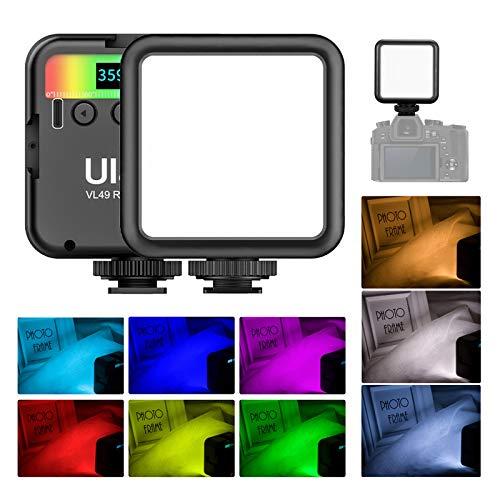 Ulanzi VL49 RGB LED luz de vídeo, 2500K-9000K regulable CRI95 Mini luz de bolsillo, batería incorporada 2000 mAh, brillo ajustable para disparo en vivo, estudio, transmisión en vivo