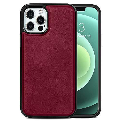 TANYO Étui en Cuir avec MagSafe pour iPhone 12 Pro Max (6.7 Pouces), Housse en Prime TPU/PU avec Fonction Magnétique MagSafe, Coque de Téléphone Antichoc en Silicone TPU - Rouge